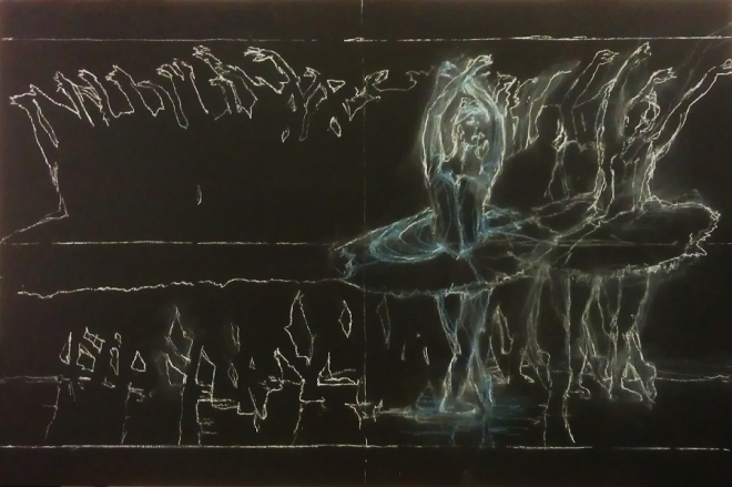 'Runaway' Chalk on Blackboard 900x600mm